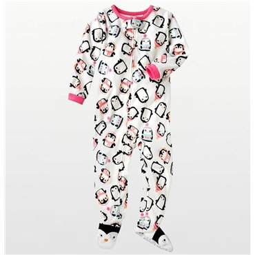 Carters - Girls Penguins Microfleece Onesie Pyjamas