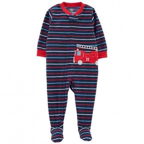 Carters - Boys Striped Fire Truck Microfleece Onesie Pyjamas