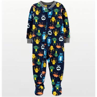 Carters - Boys Navy Monsters Microfleece Onesie Pyjamas