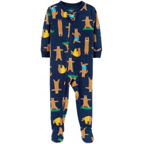 Carters - Boys Navy Bears Microfleece Onesie Pyjamas