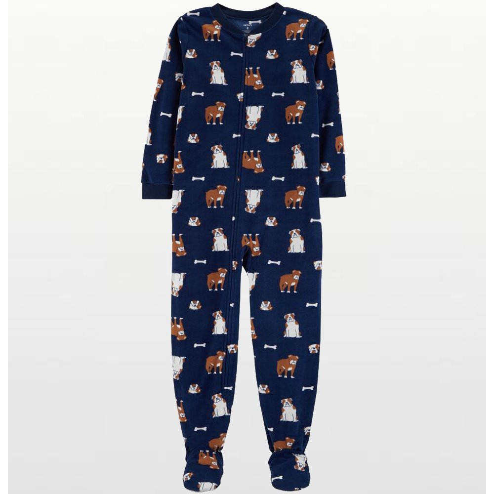 Carters - Boys Navy Bulldogs Microfleece Onesie Pyjamas