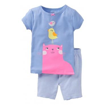 Carter's - Girls 3 piece Cotton Pyjamas - Cat & Bird