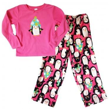Carter's - Girls Pink Penguin Fleece Pyjama Set