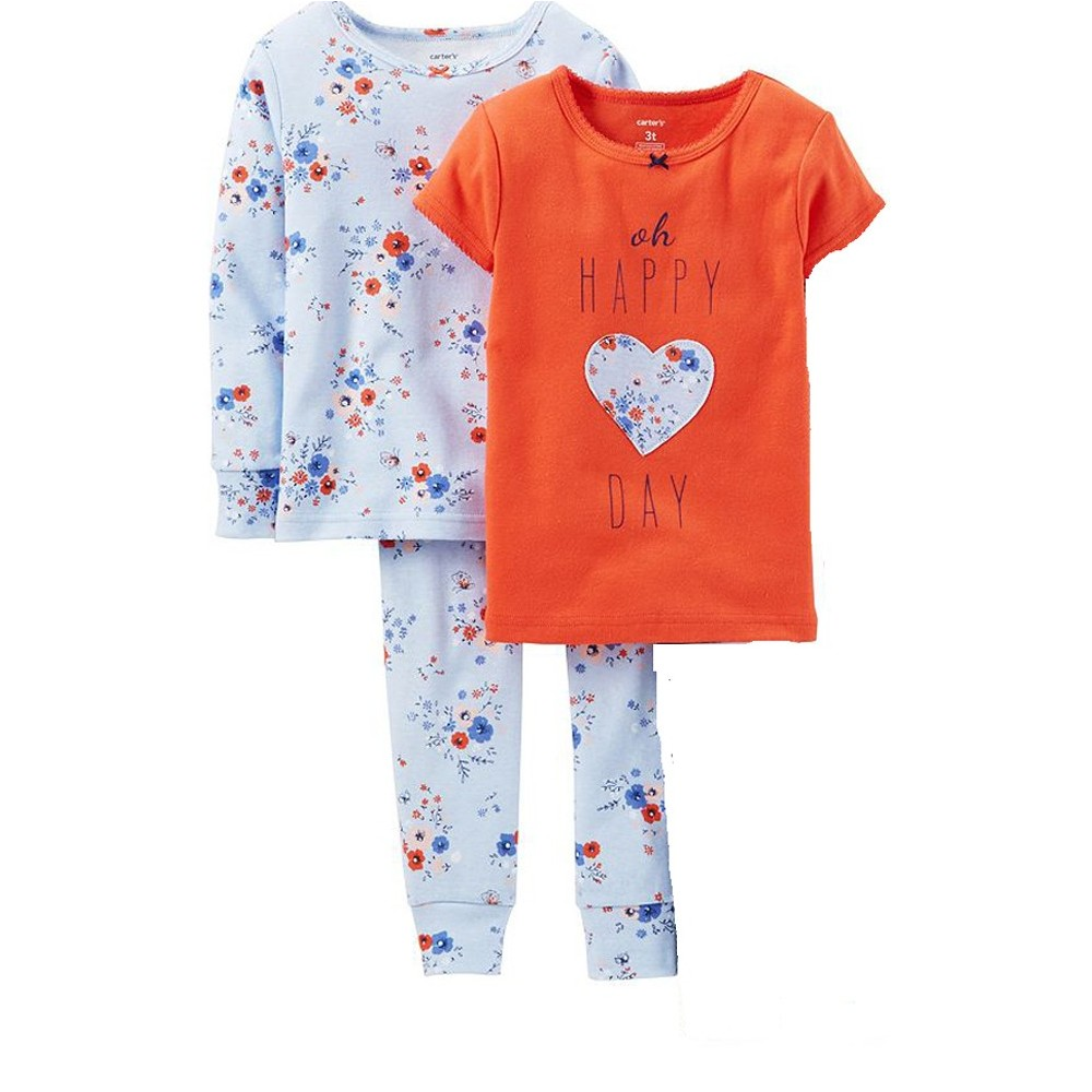 Carters - Girls Cotton Oh Happy Days 3 Piece Pjs