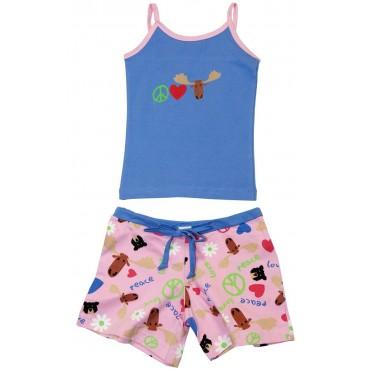 LazyOne - Tween Peace Love Moose Shortie Pyjamas