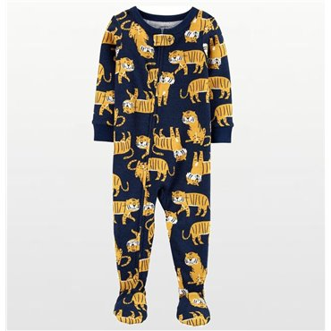 Carters - Boys Navy Cotton Onesie with Yellow Tiger Print