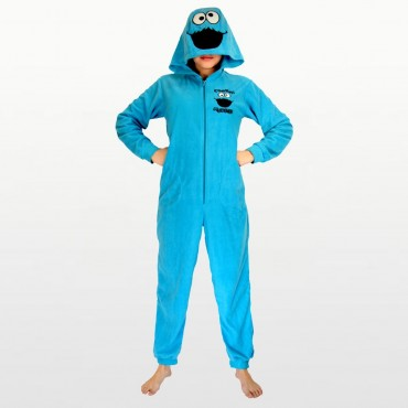 Sesame Street - Cookie Monster Footless Fleece Onesie with Hood