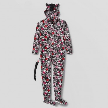 Fleece Footed Pyjamas Onesie with Hood  - Zebra Kisses