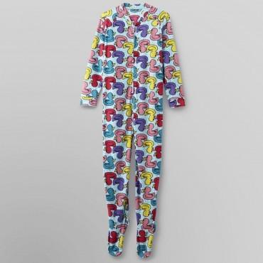 Fleece Footed Pyjamas Onesie - Multcolored Ducks