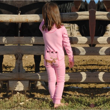"Lazy One - Girls Pink ""Moose Caboose"" Cotton Flapjack"