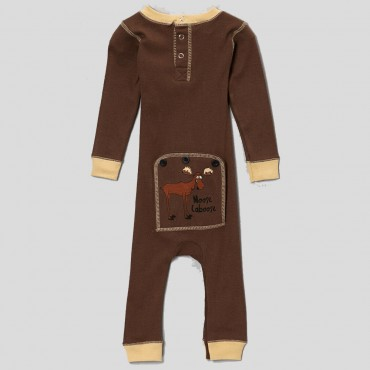 "Lazy One - Babies Brown ""Moose Caboose"" Cotton Flapjack"