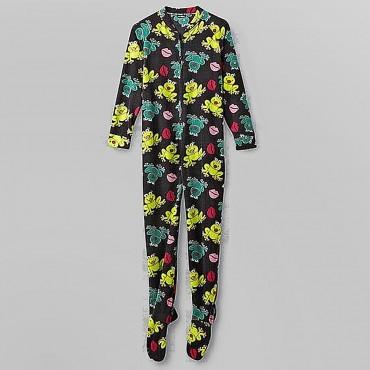 Fleece Footed Pyjamas Onesie - Multcolored Frogs