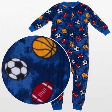 Bees & Jam Boys - Boys  Fleece Onesie Footless - Football