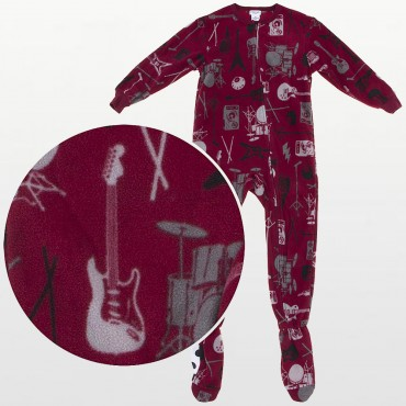 Komar Kids - Boys Music Print Fleece Onesie Pyjamas