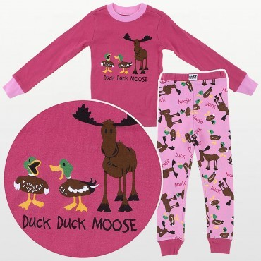 LazyOne - Girls Pink Duck Duck Moose Pyjamas