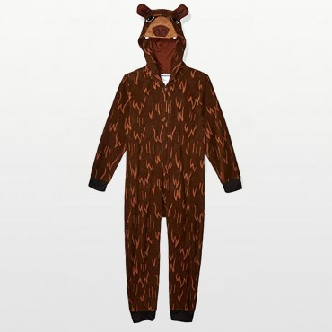 Komar Kids - Boys Hooded Brown Bear Footless Onesie Pyjamas