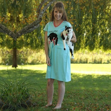 Womens - Aqua Feline Sleepy V-Neck Nightshirt