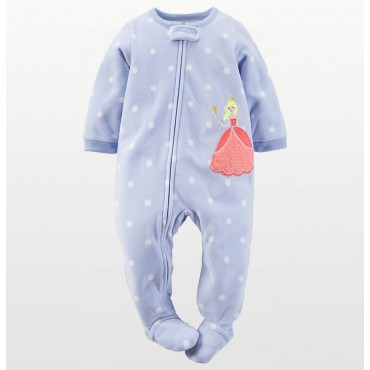 Carters - Girls Spotted Princess Microfleece Onesie Pyjamas