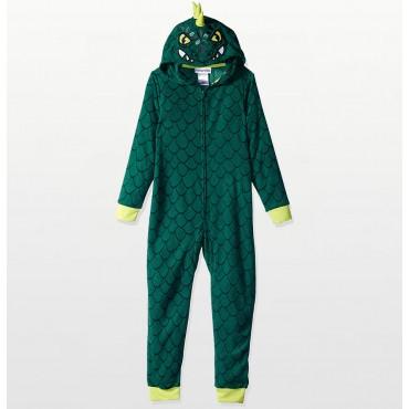Komar Kids - Boys Hooded Green Dinosaur Footless Onesie Pyjamas