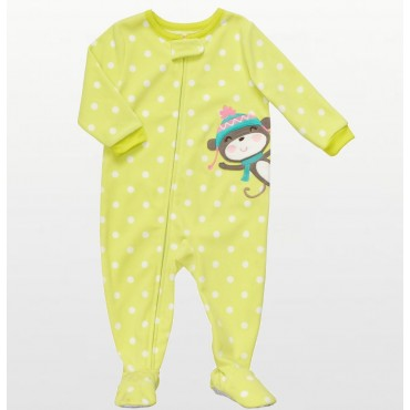 Carters - Girls Yellow Spotted Monkey Microfleece Onesie Pyjamas