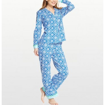 Womens - Blue Jewel Jersey Pyjama Set
