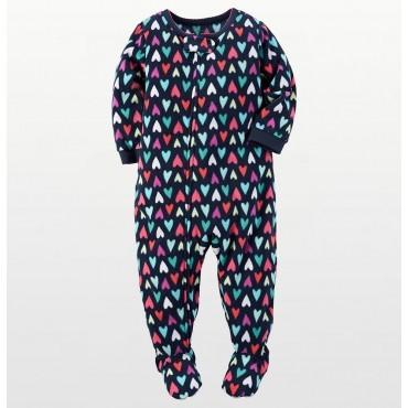 Carters - Girls Multicolor Hearts Microfleece Pyjamas