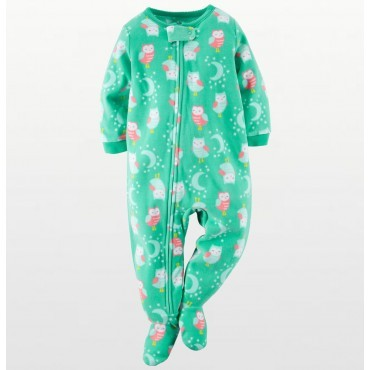 Carters - Girls Green Owls Microfleece Onesie Pyjamas