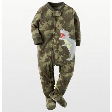 Carters - Boys Camoflague Dinosaur Microfleece Onesie Pyjamas