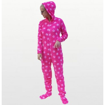 Jenni - Pink Zebra Star Angel Fleece Hooded Footed Onesie