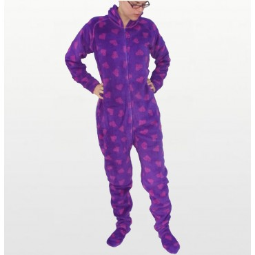 Jenni - Purple Graphic Heart Angel Fleece Hooded Footed Onesie