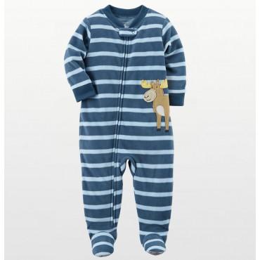 Carters - Boys Blue Stripe Moose Microfleece Onesie Pyjamas