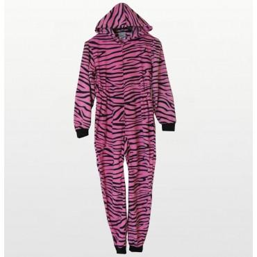 Komar Kids - Girls Pink Zebra Hooded Fleece Onesie with Booties