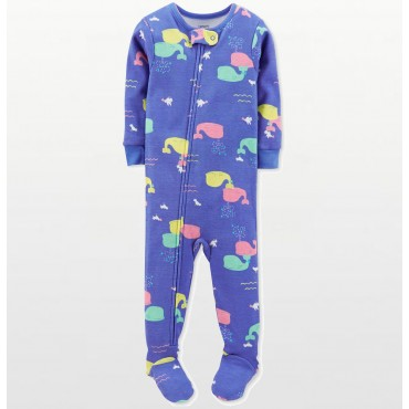 Carters - Girls Cotton Multicolored Whales Onesie Pyjamas