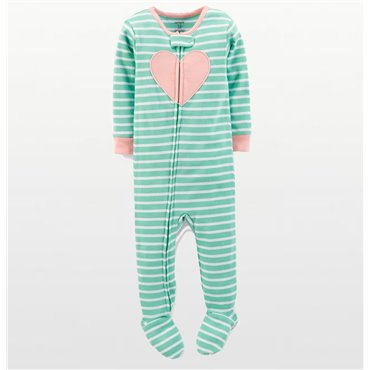 Carters – Girls Cotton Green Striped Heart Onesie Pyjamas