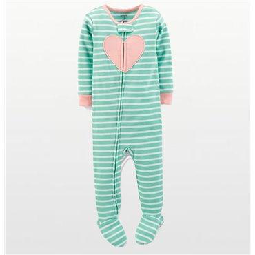 Carters - Girls Cotton Green Striped Heart Onesie Pyjamas