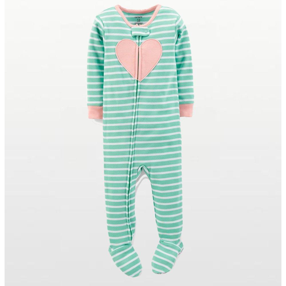 Carters – Girls Cotton Green Striped Heart Onesie Pyjamas