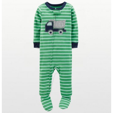 Carters - Boys Cotton Green Striped Truck Onesie Pyjamas