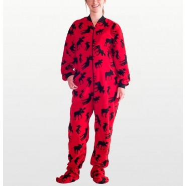 Lazy One - Adult Red Moose Fleece Onesie with Dropseat