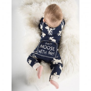 "Lazy One - Babies Blue "" Dont Moose with Me"" Cotton Flapjack"