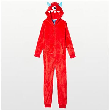 Only Boys - Red Cyclops Hooded Footless Onesie