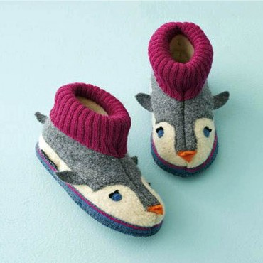 Haflinger - Boiled Wool Slippers - Penguin