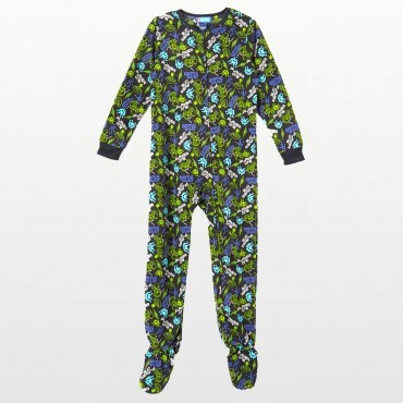 Boys -  Navy Fleece Pyjamas Onesie with Video Game Print