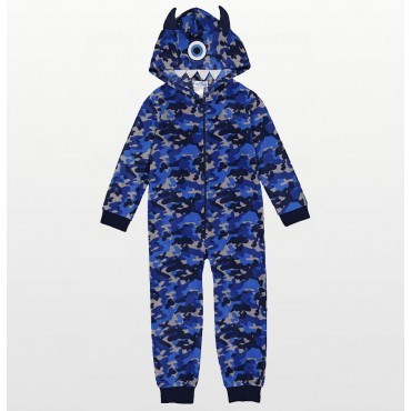 Boys -  Blue Camo Print Monster Hooded Footless Onesie