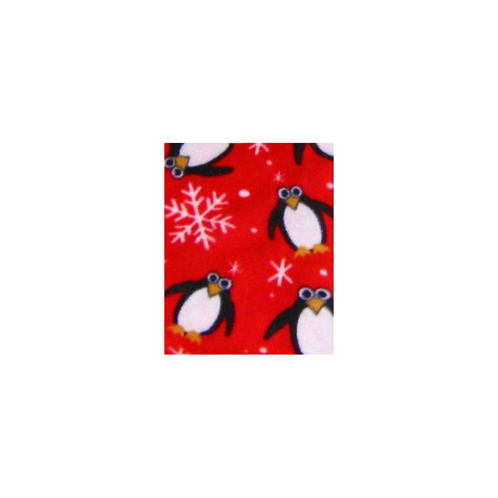 Adult - Fleece Onesie - Red Penguin Snowflake Print - Drop Seat
