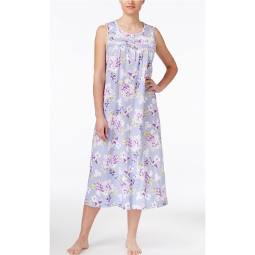 Women's - Nightgown in Lilac Floral 100% Cotton