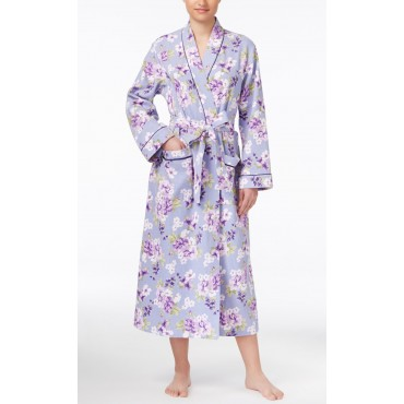 Women's - Lilac Floral Satin-Trimmed Cotton Quilted Wrap Robe