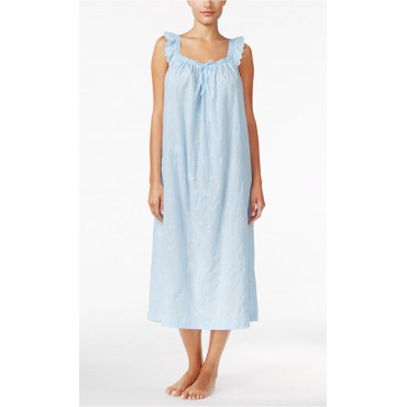 Women's - Blue Embroidered Nightgown