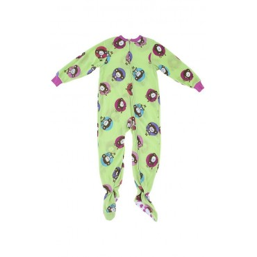 Girls - Green Monkey Fleece Pyjamas Onesie