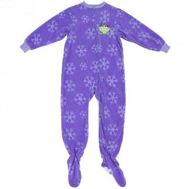 Girls - Purple Frog Fleece Pyjamas Onesie