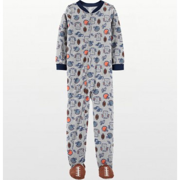 Carters - Boys Grey Football Microfleece Onesie Pyjamas